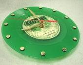 KLARK KENT Recycled Vinyl Record Wall Clock - To Kool To Kalypso Green Vinyl