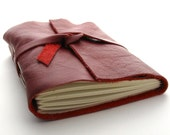 Handmade Leather Journal, The Traveler in Cranberry Red