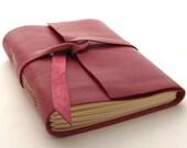 Handmade Pink Leather Journal, The Traveler in Raspberries and Cream