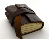 Tiny Chunky Handmade Brown Leather Journal, The Small Rugged Traveler