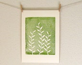 Green Fern Art Print, A Hand Pulled Nature Art Print in Green and Cream ON SALE