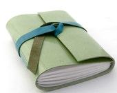 Leather Journal or Blank Sketchbook,  Green and Blue Tropical Splash