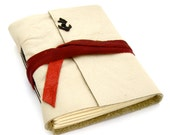 Cream Leather Nautical Journal with Black and Red Accents