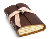 Pink and Brown Leather Journal, A Confection in Chocolate and Raspberry Cream