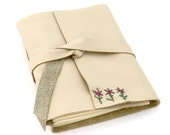 Cream Leather Journal and Sketchbook with Hand Embroidered Purple Flowers