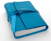 Handmade Blue Leather Journal and Sketchbook in Turquoise Kidskin