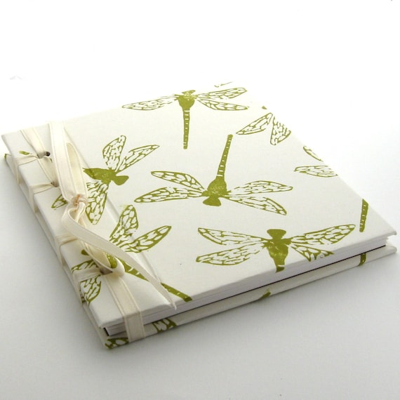Handmade Spring Dragonfly Journal in Cream and Moss Green
