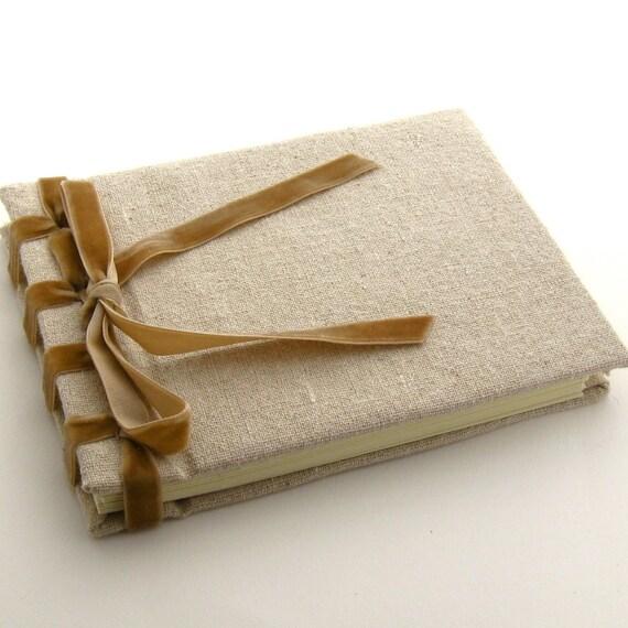 Handmade Linen And Velvet Ribbon Bound Journal Or Guest Book