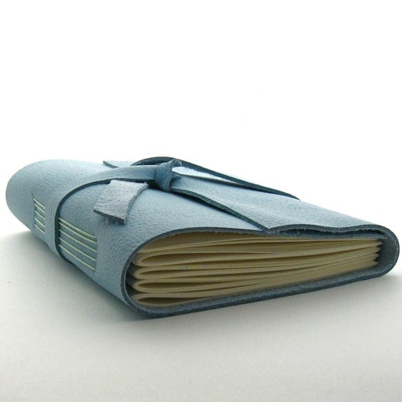 Handmade Leather Journal, The Traveler in Sky Blue and Mint