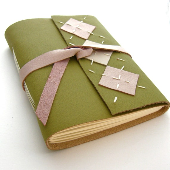 Handmade Preppy Leather Journal in Pink, Green, and Cream