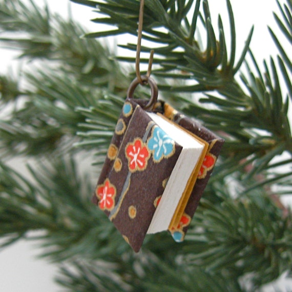 Handmade Miniature Book Pendant and Ornament, Tiny Blooms