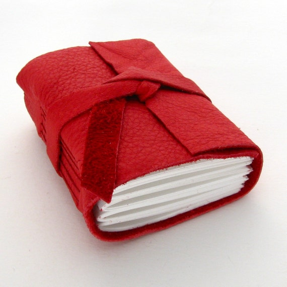 Tiny Chunky Handmade Leather Journal in Candy Apple Red