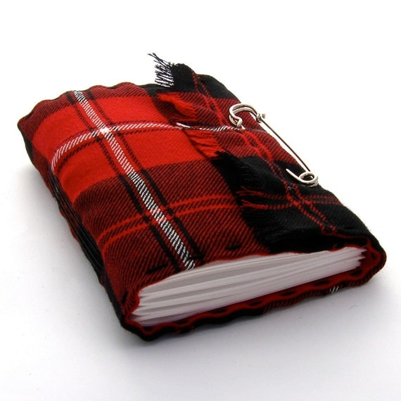 Scottish Tartan Kilt Journal and Sketchbook in Red, Black, and White Plaid