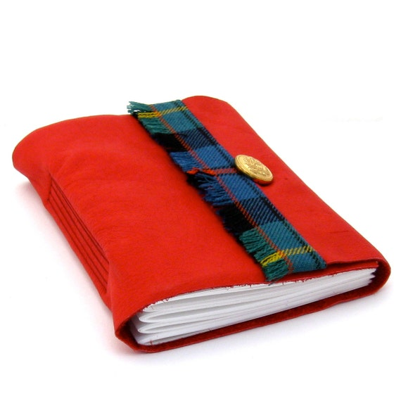 Red Leather Journal with Scottish Tartan Trim