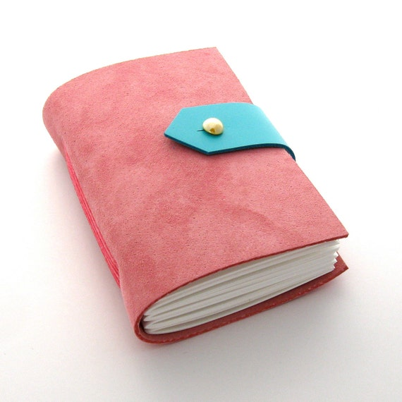 Pink Leather Journal and Sketchbook, Pocket Sized Spring Journal in Suede