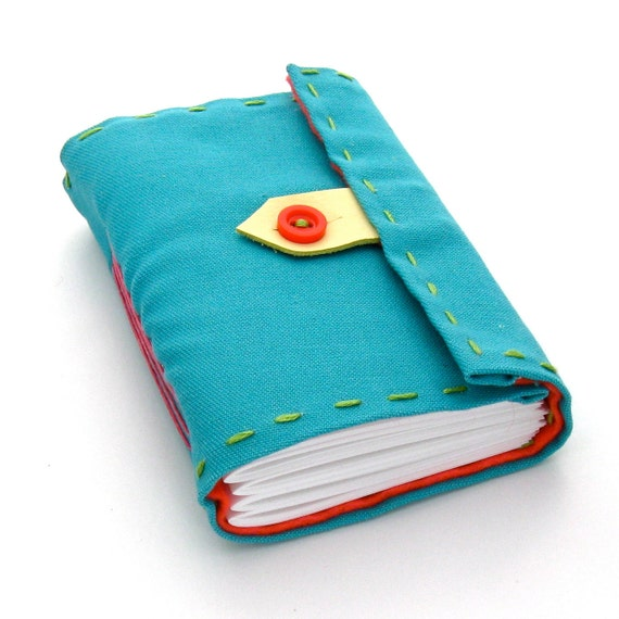 Hand Stitched Vintage Fabric Journal and Sketchbook in Aqua, Pink, Yellow, and Green, A Miami Beach Vacation ON SALE