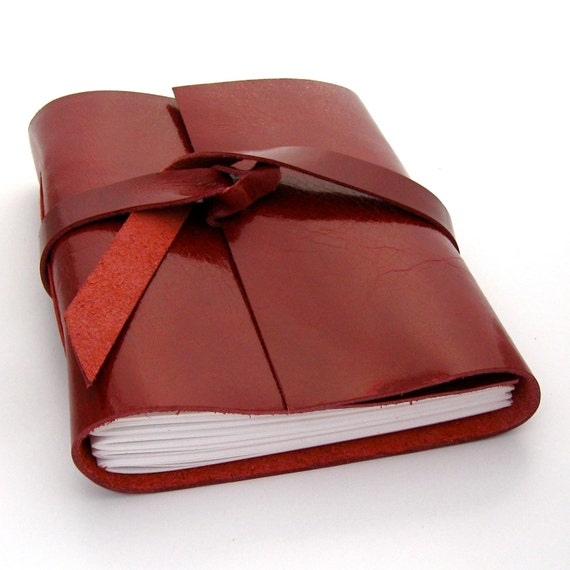 Red Leather Journal and Sketchbook In Sweet Summer Cherry Red