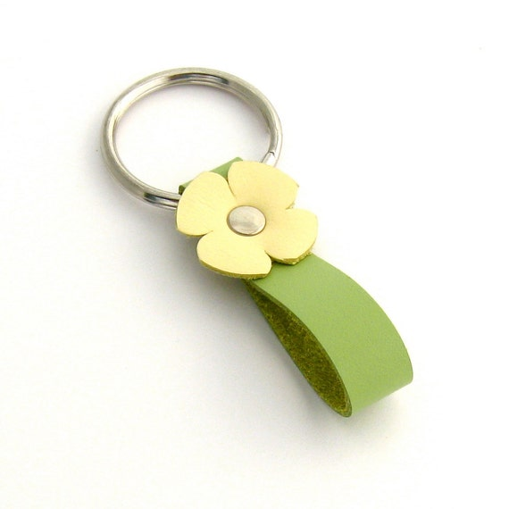 Summer Key Ring in Lemon Cream and Lime, A Handmade Leather Key Fob