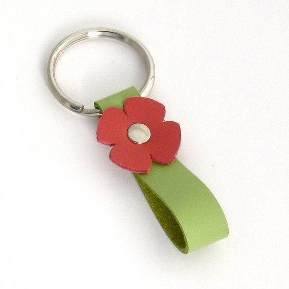 Leather Flower Key Fob in Watermelon and Lime, A Handmade Leather Key Ring