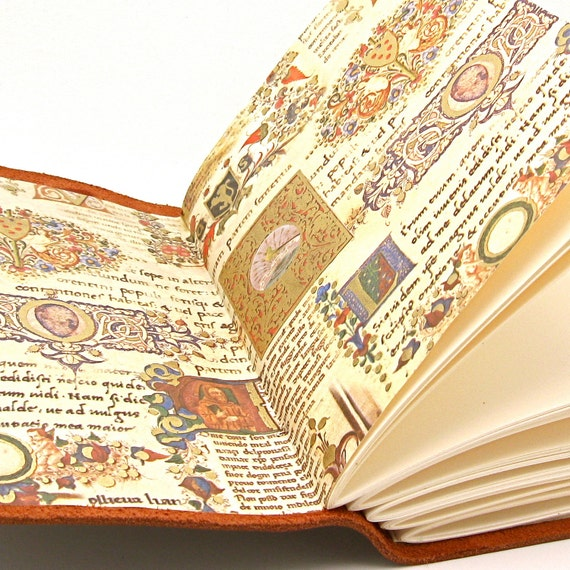 Medieval Leather Journal and Leather Sketchbook with Illuminated Manuscript Pages