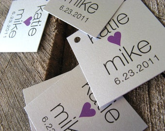 Silver Simple Modern Wedding Favor Tags - Wedding Gift Tags - Thank you tags - Hang tags - Set of 50