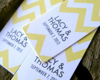 Yellow Chevron Stripe Gift Tags - Wedding Favor Tags - Wedding Gift Tags - Thank you tags - Hang tags - Set of 50