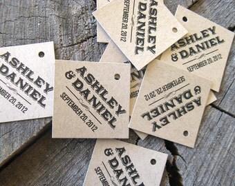 Rustic Modern Gift Tags - Diamond Wedding Favor Tags - Brown Tan Wedding Gift Tags - Thank you tags - paper Bag Hang tags - Set of 50