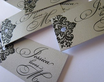 Silver Rectangle Damask Favor Tags- Set of 50 - Metallic Ornate thank you tags - Cake Pop Tags