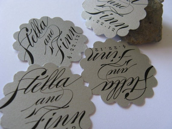 50 Silver Series Petal Script Calligraphy Favor Tags