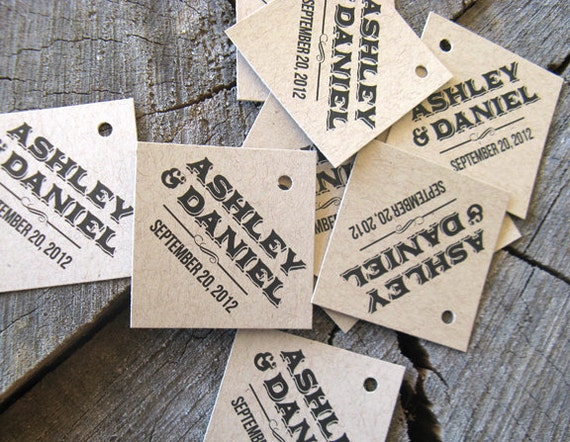 Contemporary Wedding Gifts: Rustic Modern Gift Tags Diamond Wedding Favor Tags Brown
