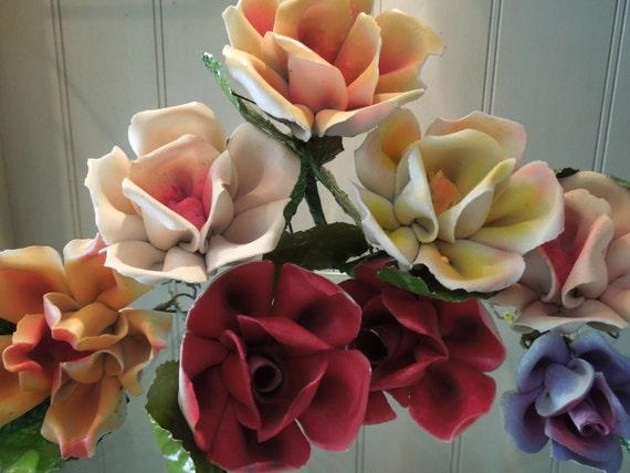 Reserved 8 Vintage Handmade Chippy Roses
