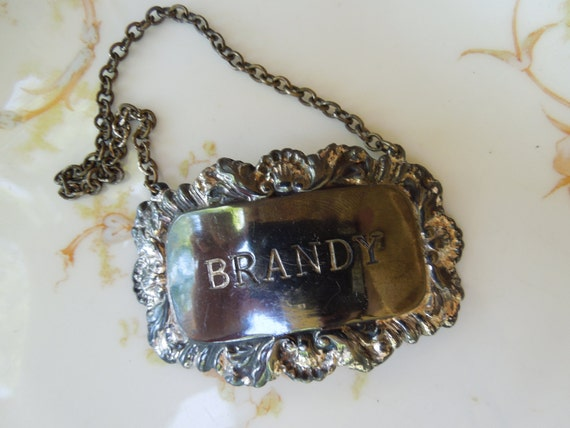 Vintage Brandy Liquor Decanter Silver Plated Tag for Repurposing