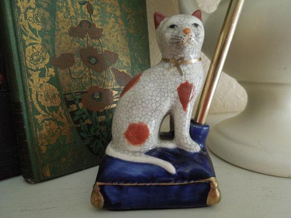 Vintage Cat Porcelain Pen Holder