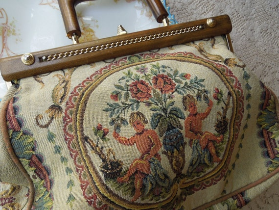 Reserved for JOJO Vintage 1950's Tapestry Handbag Made In Italy
