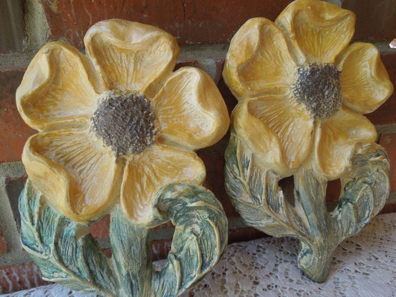 Vintage 1950's Sunflower Pair Chalkware Wall Hangings