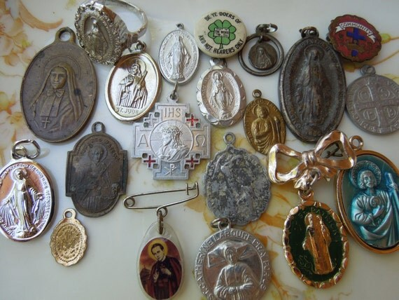 20 Vintage Religious Catholic Charms Saints Virgin Mary Relics