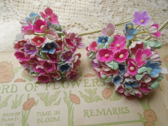 Reserved for Christie Vintage 4 sets  Bunches of Millinery Forget Me Not Flowers