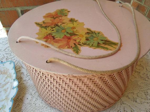Gorgeous Vintage Pink Wicker Sewing Basket