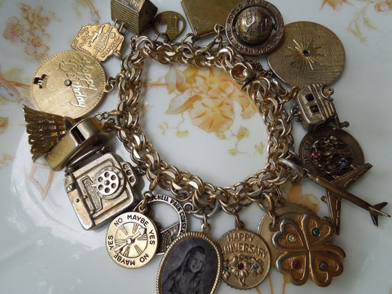 Vintage 1960's Charm Bracelet 19 Charms Gold Filled and Sterling Silver
