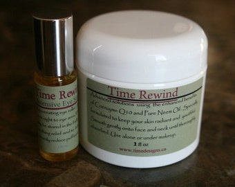 TIME REWIND Advanced Face Anti-Aging Duo............Coenzyme Q10, Neem Oil, Carrot Seed Oil, Roseip Oil, Vit E