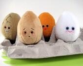 Set of Four Plush Eggs...Natural Colours