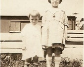 Sweet 1920's KIDS PHOTO - Darling Little Girls with Bowl Cuts and White Dresses - sooo cute
