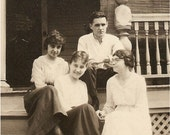 Sale - Super VINTAGE PHOTO Snapshot of 1900's Gals and a Guy hanging out on the steps of a Victorian Gingerbread Porch - Great shot