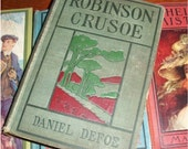 Sale-Rare ANTIQUE CLASSIC BOOK - Robinson Crusoe by Daniel Defoe - A rare hard to Find Early Edition