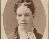 She's a Lovely Gal -  Antique 1800's CDV LADY PHOTO - with a Fancy Lace Ascot  and Curls on top of her Head - Pittsfield Mass -- carte de visite
