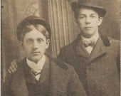 Wonderful ANTIQUE 1920's PHOTO of Two Young Houligans in their Coats and Hats - maybe they're Brothers - Great faces - small cab card