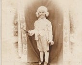 Cute ANTIQUE PHOTO of a Little Actress Girl in an English Costume with Powdered Wig and Nickers - great shot