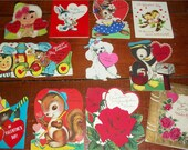 Sale-Super Lot of VINTAGE VALENTINE CARDS - 11 cute Juvenile Cards with hearts and animals - Sweet
