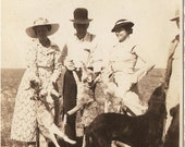 Rare Antique FOX HUNT PHOTO - 1920's Gals and Guys and Dogs holding Dead Foxes from a Hunt - Hunting Shot