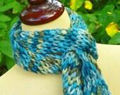 Brookstone Blue Grey Hand Knit Alpaca Scarf - Plymouth Yarn